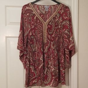 Gorgeous Catherines DarkRed and Tan Paisley Top 1X